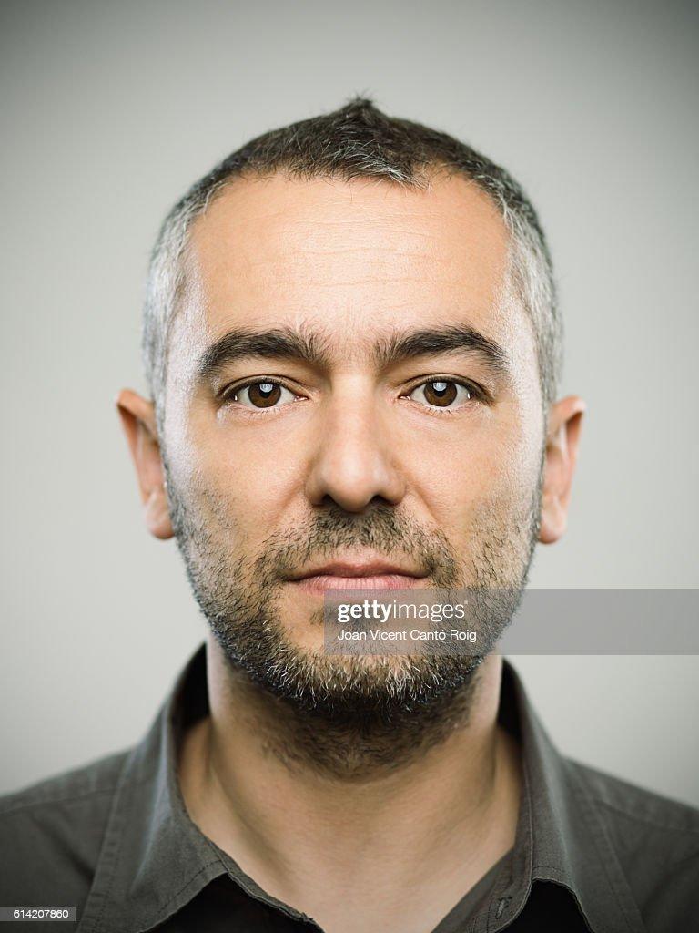 Real caucasian adult man portrait : Stock Photo