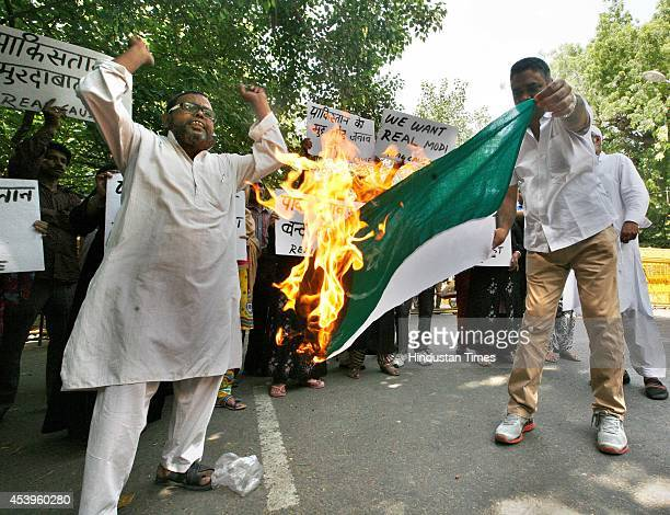 Real Cause members protest against terrorist activities of Pakistan in India at Jantar Mantar on August 22 2014 in New Delhi India Pakistan violating...