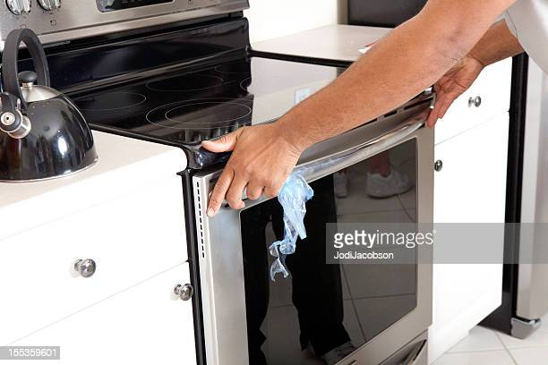 Real Delivery Man installing Oven