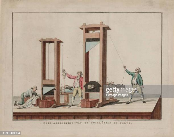 Real depiction of the guillotine at Paris 17911792 Found in the Collection of Bibliothèque Nationale de France Artist Anonymous