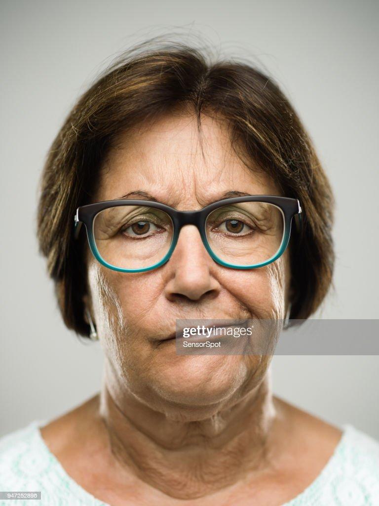 Real displeased senior woman portrait : Stock Photo