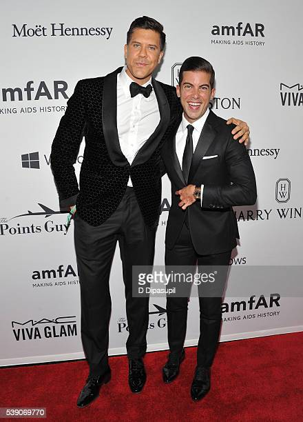 Real Estate Brokers Fredrik Eklund and Luis D Ortiz attend the 7th Annual amfAR Inspiration Gala at Skylight at Moynihan Station on June 9 2016 in...