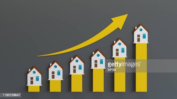 gráfico e gráficos de negócios imobiliários - cotação de juros - fotografias e filmes do acervo