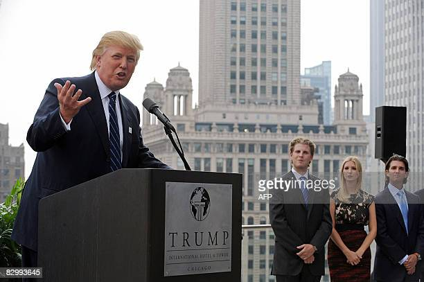Real estate developer Donald Trump and his children Eric Ivanka and Donald Jr attend a press conference at the Trump International Hotel and Tower in...