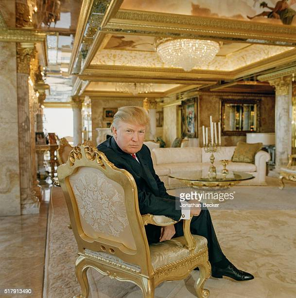 Real estate developer Donald Trump is photographed for Forbes Magazine on August 25 2005 in his penthouse apartment in New York City PUBLISHED IMAGE