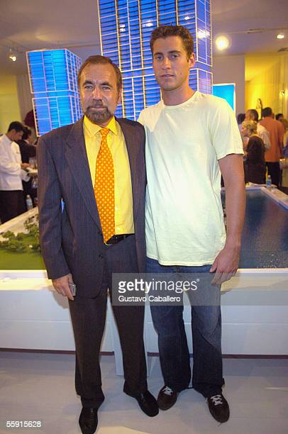 Real Estate Developer Jorge Perez and his son John Paul Perez pose at the party for the new Icon building October 11 2005 in Miami Florida