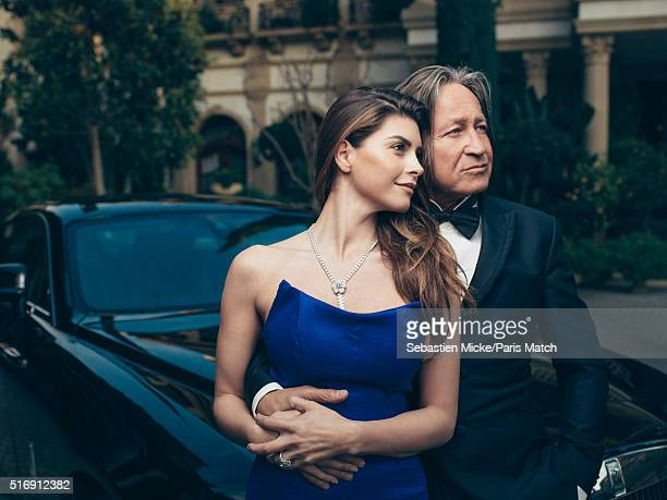 Real estate developer Mohamed Hadid is photographed at his Le Belvedere mansion with his fiancée Shiva Safai for Paris Match on January 14 2016 in...