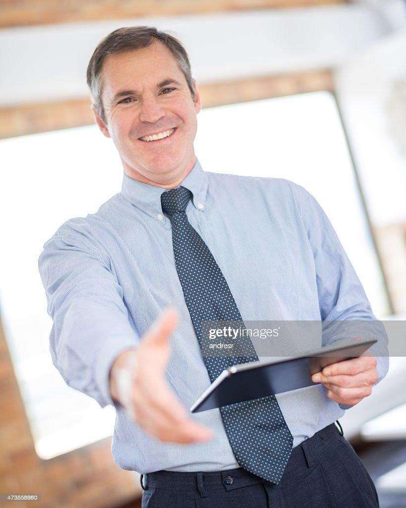 Real estate developer bereit, handshake : Stock-Foto