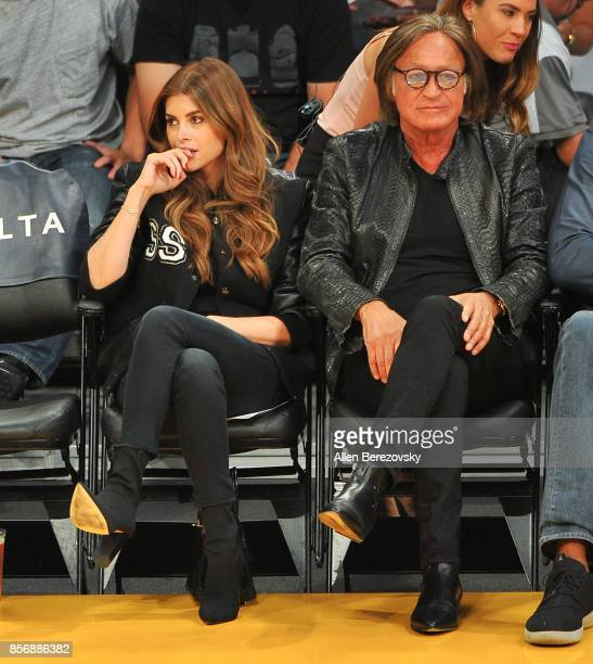 Real estate entrepreneur Mohamed Hadid and fiance Shiva Safai go on date by checking out the Los Angeles Lakers game against the Denver Nuggets at...