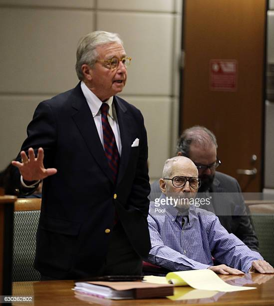 Real Estate Heir Robert Durst looks on as his attorney Dick DeGuerin arguesin the Airport Branch of the Los Angeles County Superior Court during a...