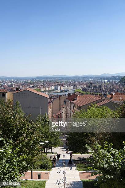 Real estate in Lyon : buildings along the slope in the district of La Croix Rousse. Real estate on the hills of La Croix Rousse district in Lyon and...