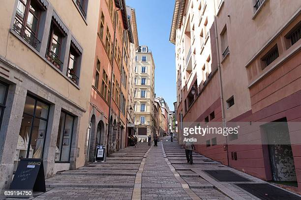 Real estate in Lyon : buildings along the slope in the district of La Croix Rousse in Lyon. Real estate on the hills of La Croix Rousse district in...