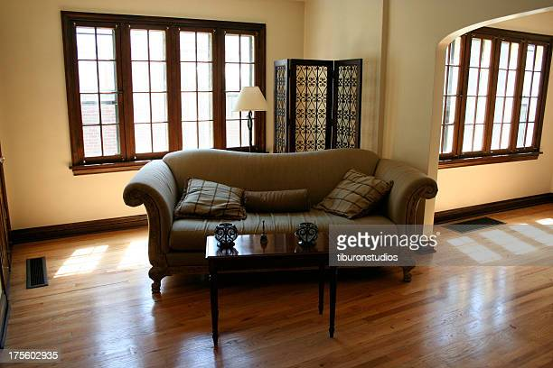 Real Estate Interior: Couch, Wood Floors, Sunlight