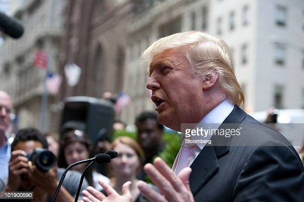 Real estate investor Donald Trump speaks during a ceremony outside Trump Tower in New York US on Tuesday June 8 2010 Gray Line New York known for...