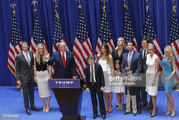 Real estate investor Donald Trump stands with his family after his announcement that he will run for the 2016 presidential elections at the Trump...