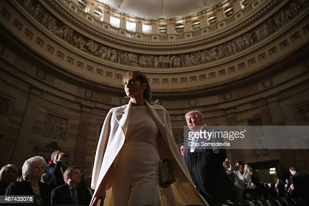 Real estate mogul and billionaire Donald Trump and his wife Melania TrumpTrump attend Golf legend Jack Nicklaus' Congressional Gold Medal ceremony in...