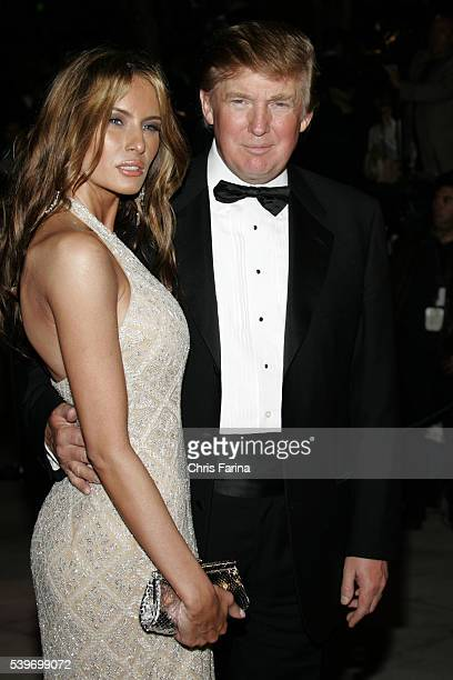 Real estate mogul and Reality TV star and executive producer Donald J Trump and new wife model Melania Knauss Trump arrive at the Vanity Fair Academy...