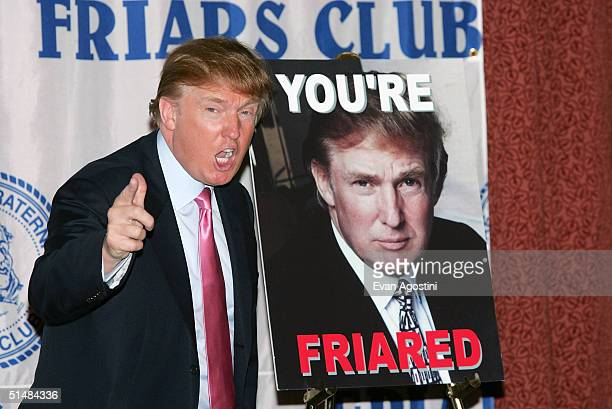Real Estate mogul and TV personality Donald Trump attends the Donald Trump Friars Club Roast Luncheon at the New York Hilton October 15, 2004 in New...