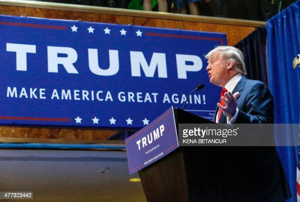Real estate mogul Donald Trump announces his bid for the presidency in the 2016 presidential race during an event at the Trump Tower on the Fifth...