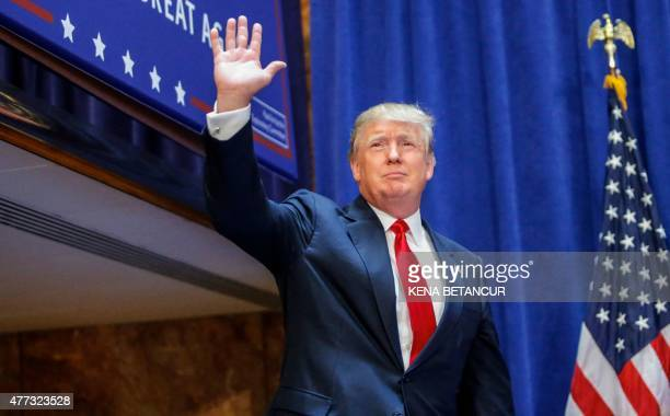 Real estate mogul Donald Trump arrives to announce his bid for the presidency in the 2016 presidential race during an event at the Trump Tower on the...