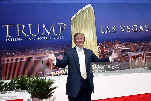 Real estate mogul Donald Trump poses during a groundbreaking ceremony for his Trump International Hotel Tower Las Vegas a 64story tower featuring...