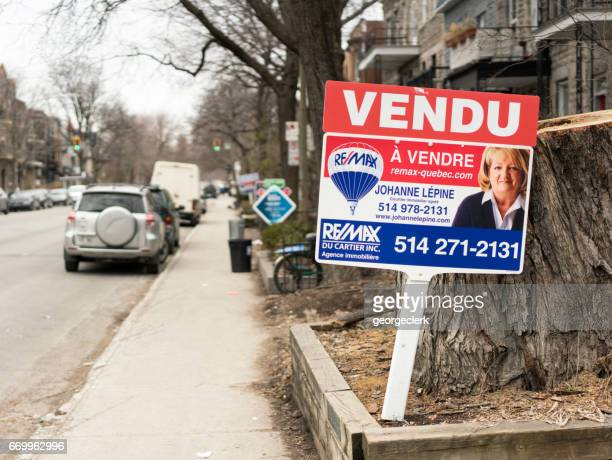 Real estate sign in Montreal, Quebec