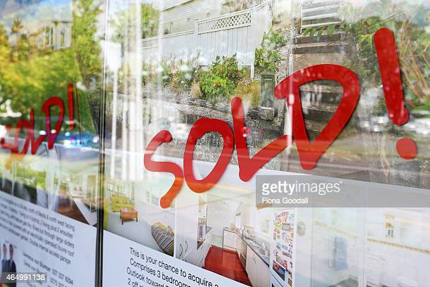 Real estate signs in Auckland's central suburbs on March 3 2015 in Auckland New Zealand Recent figures show that the value of New Zealand's average...