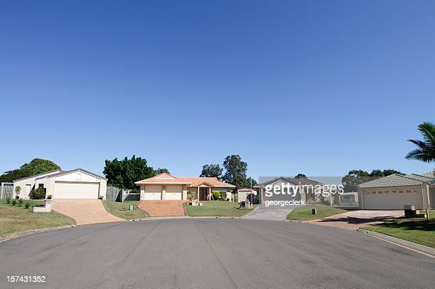 real estate: suburban cul-de-sac - wide angle stock pictures, royalty-free photos & images