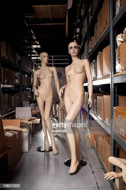 calvo s mannequin con cabeza de mujer hermosa, en el almacén - mujer desnuda cuerpo entero fotografías e imágenes de stock