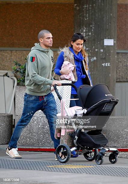 Real Football Player Pepe and Ana Sofia Henao with their newborn are seen on February 6 2013 in Madrid Spain