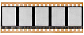 real high res scan of 35mm film material or movie strip on white background with empty frames or cells