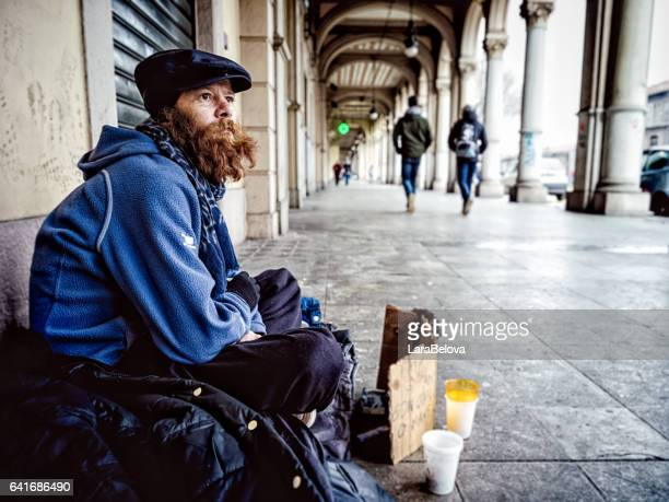 Real homeless mid aged man