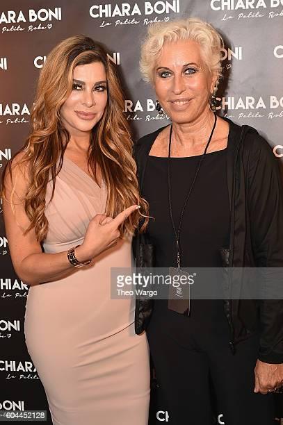 Real Housewife of New Jersey cast member Siggy Flicker and designer Chiara Boni pose backstage at the Chiara Boni La Petite Robe during New York...
