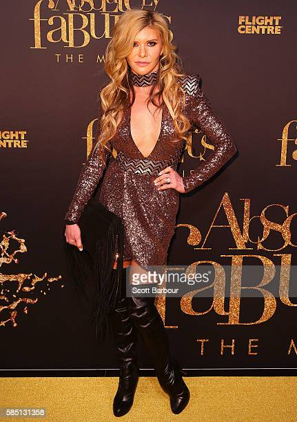 Real Housewives Of Melbourne star Gamble Breaux arrives ahead of the Absolutely Fabulous The Movie Melbourne premiere at Village Cinemas Crown on...