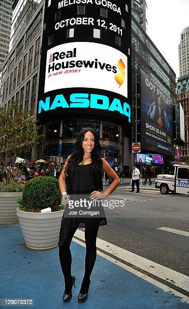 Real Housewives Of New Jersey cast member Melissa Gorga rings the opening bell at NASDAQ on October 12 2011 in New York City