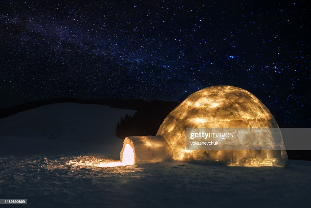 real igloo under starry sky : Stock Photo
