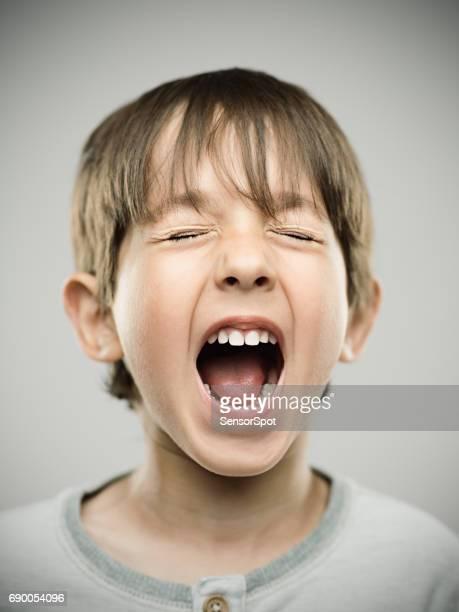 Real kid shouting in studio