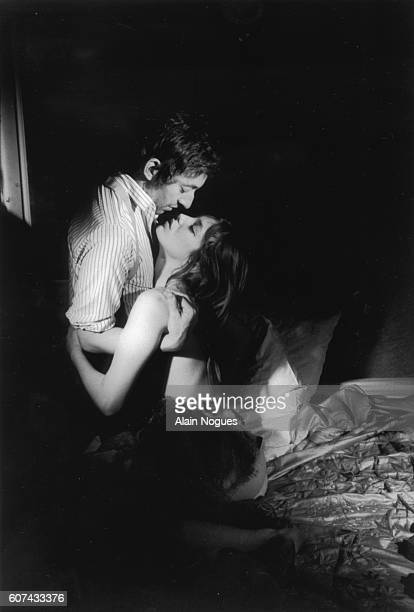 Real life partners, French composer and actor Serge Gainsbourg and British actress Jane Birkin, during the shooting of Pierre Koralnik's 1969 French...