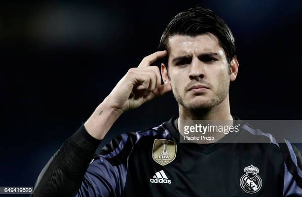 Real Madrid Alvaro Morata celebrates after scoring during the round of 16 second leg soccer match Champions League between Napoli and Real Madrid at...