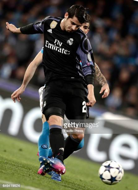 Real Madrid Alvaro Morata kicks to score during the round of 16 second leg soccer match Champions League between Napoli and Real Madrid at the San...