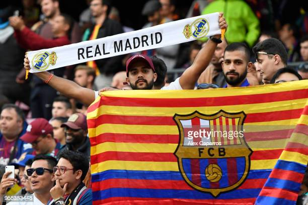 Real Madrid and Barcelona fans are seen in the stands together prior to the La Liga match between Barcelona and Real Madrid at Camp Nou on May 6 2018...