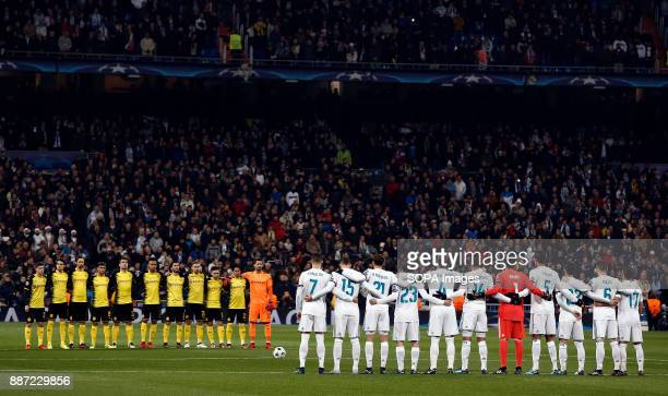 Real Madrid and Borussia of Dortmund, save a minute of silence for the death of former Real Madrid player Henning Jensen before the UEFA Champions...