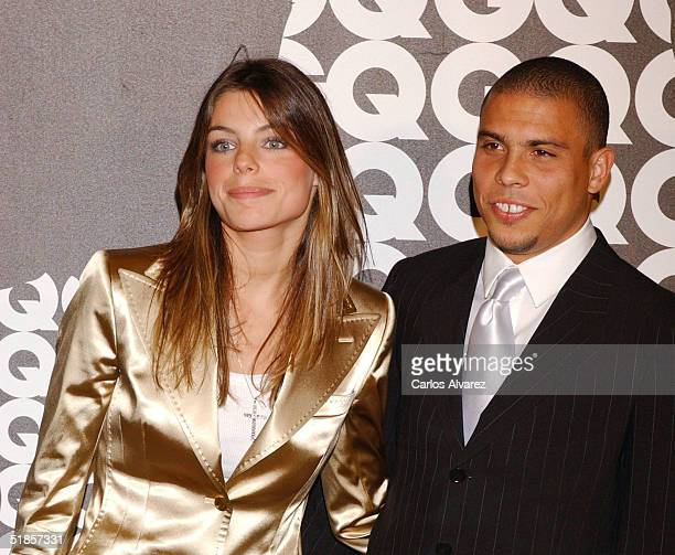 Real Madrid and Brazil football player Ronaldo and girlfriend Daniela Cicarelli attend the GQ Awards 2004 on December 13 2004 at Hotel Palace in...