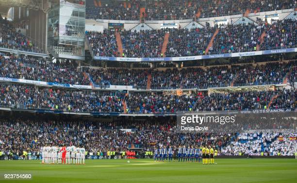 Real Madrid and Deportivo Alaves players hold a minute of silence at the Bernabeu in memory of the Basque policeman who died during clashes outside...