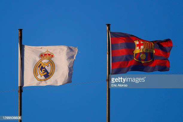 Real Madrid and FC Barcelona flags are seen during the La Liga Santander match between Valencia CF and Elche CF at Estadio Mestalla on January 30,...