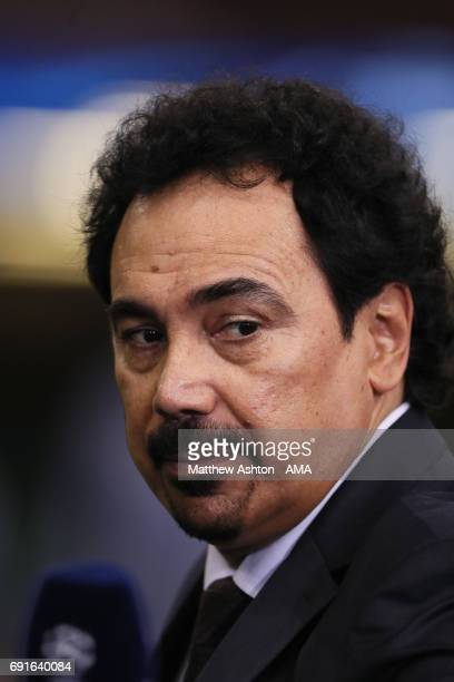 Real Madrid and Mexico football legend Hugo Sanchez working for a Television broadcaster during a Real Madrid training session prior to the UEFA...