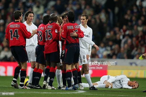 Real Madrid and Osasuna players argue during a Primera Liga match between Real Madrid and Osasuna on December 18 2005 at the Santiago Bernabeu...