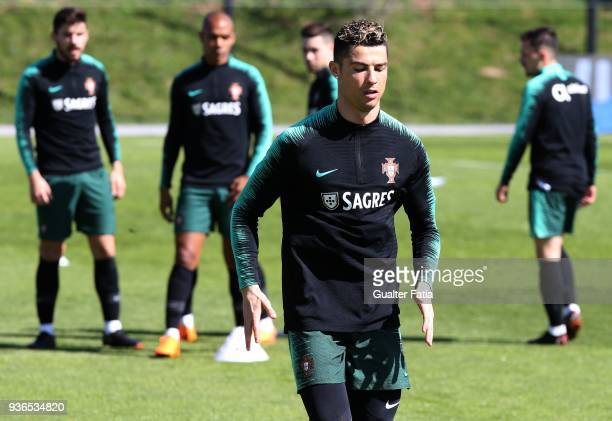 Real Madrid and Portugal forward Cristiano Ronaldo in action during Portugal National Team Training session before the friendly matches against Egypt...