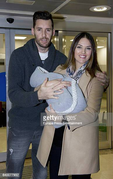 Real Madrid basketball player Rudy Fernandez and model Helen Lindes present their newborn child Alan Fernandez on December 24 2016 in Madrid Spain