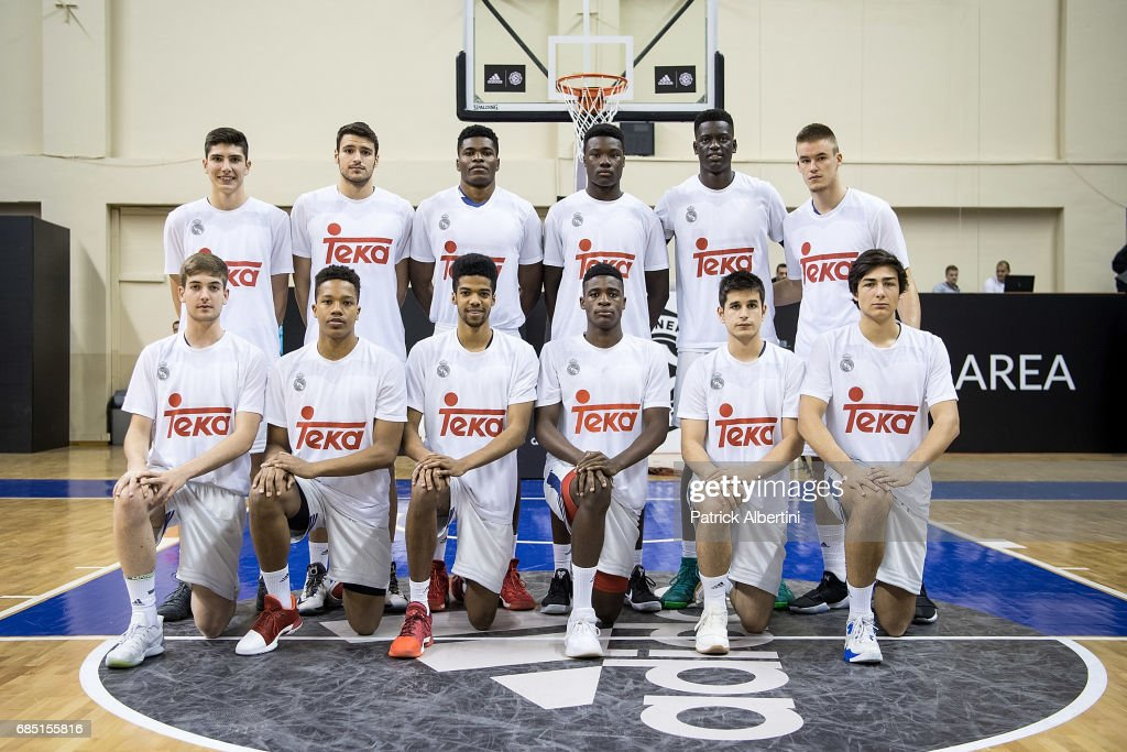 Real Madrid before the Euroleague Basketball Adidas Next Generation Tournament game between U18 Real Madrid v U18 Fenerbahce Istanbul at Ahmet Comert on May 19, 2017 in Istanbul, Turkey.